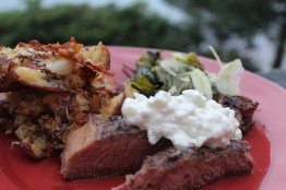 flank steak with garlic tizziki