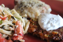 shrimp and herb spaetzle with zucchini grill cakes