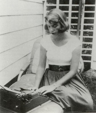 Sylvia Plath at her typewriter