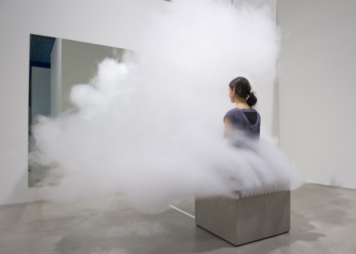 iheartmyart:  Jeppe Hein, Smoking Bench, 2003,technic, smoke machine, iron box, pillow