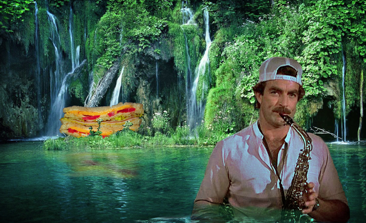 Tom Selleck in a waterfall