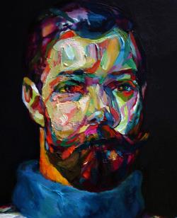 """mucksnipe:  Aaron Smith, """"2 Beards"""", detail 2, 2009, oil on panel, 60"""" x 48"""""""