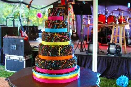 wedding cake 80s rave neon colors