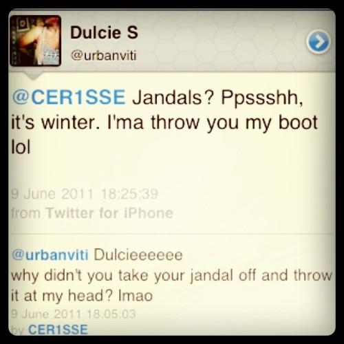 Now following @urbanviti lol throw the jandal Dulcieee :D  (Taken with instagram)