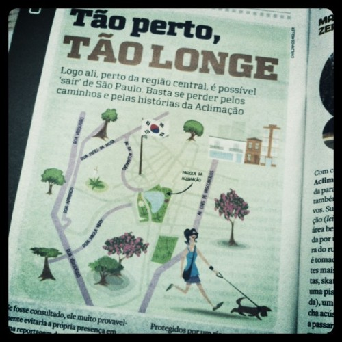 """The article's main illustration.The piece claims Aclimação is some sort of Little Korea in São Paulo, what with its Korean restaurants and… well, that's pretty much all you can find there (and, as far as I know, you cannot find thaaaaat many). I've always thought Bom Retiro was much more """"Korean"""" than any other neighbourhood in the city, but maybe I have to update my views.Check out more posts from this collaborationHERE.Check out the other collaborators' blogshere.Check outThe Korea Blog!"""
