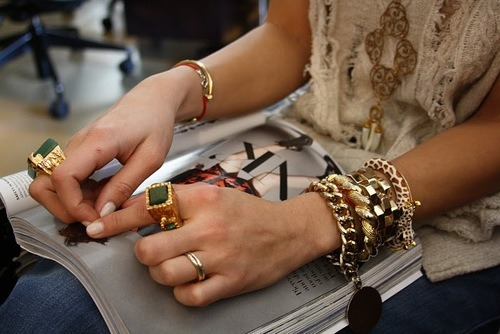 WRIST OF THE DAY<br /><br /><br /><br /><br /><br /><br /><br /> The clang of metal bracelets is music to our ears.