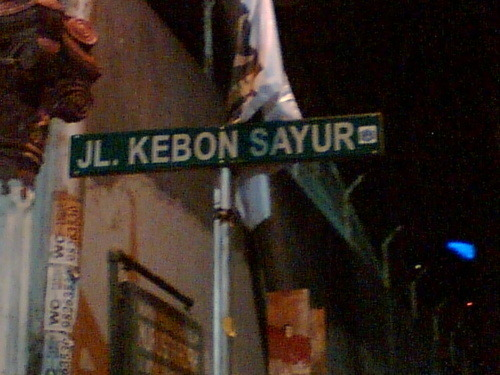 Jl. Kebon Kacang…..OK,  Jl. Kebon Sirih……..OK.  Jl. Kebon Sayur…….hmmm got too mixed up with all the vegetables there . FAIL