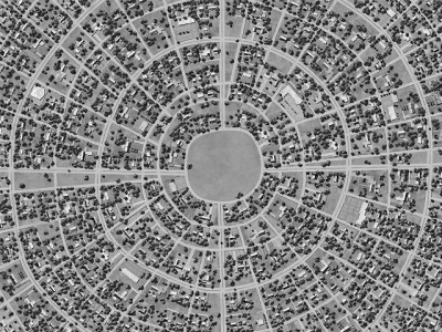 "East Hollowburn Fields | Ross Racine Fictional Suburbia: Digital Drawings Artist Ross Racine draws these crazy maps/aerial ""photographs"" freehand in Photoshop. THE SUBURBS Social Class: Upper middle Power Center: No Buildings: Fine residences (20%), Average residences (50%), Average trades and services (10%), Fine trades and services (5%), temples (5%), open space (5%), unique or unusual locations (5%) Description: The suburbs are a maze of wide streets, lined by houses with wide lawns. Inhabitants are voluntarily segregated by race with humans and halflings predominating. Houses tend to be a bit larger and more widely-spaced than in the city proper, but they also are hard to visually distinguish from one another. Streets are seldom in a straight line and names tend to be cute and/or repetitive. Parties that don't have an exact address and good directions are likely to get lost. Residents are materially wealthy, with many fine objects, though some are perhaps not as fine as they immediately appear, and the use or purpose of some of these objects may not be readily apparent, unless you were a suburban dweller in previous years when that object was all the rage. Homeowners will be posession-rich but gold-poor. Residents usually know one another by sight if not by name, and tend to ride carriages everywhere, regardless of the length of the journey. Accordingly, a party of strangers traveling on foot will likely be regarded with suspicion if not immediate hostility.  Plot Hook: The party recieves a tip or a map that indicates a treasure-filled tomb lies under recently-built suburban houses. They must navigate the confusing tangle of streets to find the location and convince the new homeowners to let them investigate basements, alleys, vacant lots, and so on. And it's quite possible that the residents of the tomb have already come up to meet their ne neighbors."