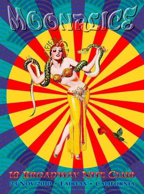 According to Moonalice legend, David Singer's poster for tomorrow night's show at 19 Broadway Nite Club in Fairfax, CA is absolutely fantastic!!! Show starts at 20.00 Pacific.