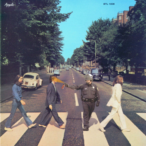 """This is gonna be the greatest thing ever. People are gonna read all kinds of horse shit into this photo and you know what? We're just going to laugh and laugh and laugh. 'Oh why is Paul out of his shoes? Why is George in blue jeans? Why is John in white? Why is that bug halfway up the curb? Fucking idiots. People are so dumbAUUAHAGAHAUAGHAGAHGHHHHHHHHHHHHHHHHHHHHHH"""