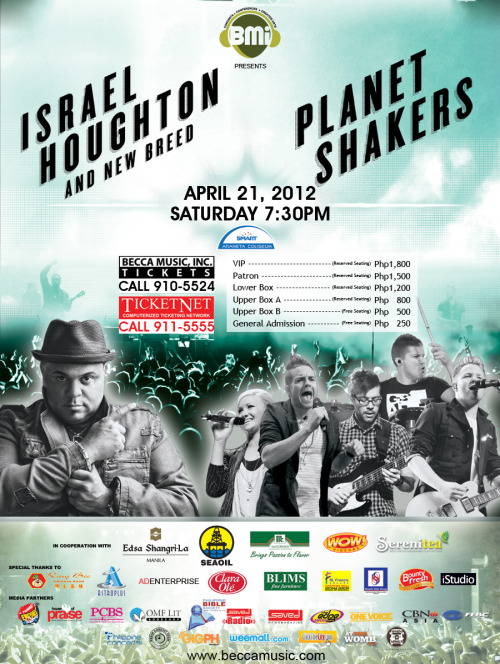 "This is the concert you've been waiting for!<br /><br />Join us as we worship the ONE TRUE GOD at the Smart Araneta Coliseum on APRIL 21, 2012 at 7:30PM with the PLANETSHAKERS and ISRAEL HOUGHTON & NEW BREED.<br /><br />Tickets are going fast, so call Becca Music Tickets at 910.5524 or Ticketnet at 911.5555 today!ISRAEL HOUGHTONIsrael Houghton is known for injecting contemporary gospel and worship with a blazing energy that has made him among the most influential tastemakers in his field. As a singer, composer, multi-instrumentalist, producer and worship leader, he has created a canon of songs that have become standards in houses of faith around the globe.He has accomplished this largely as the leader of ""Israel and New Breed,"" a Grammy, Stellarand Dove Award-winning musical ensemble and ministry organization that has amassed gold-selling albums and critical platitudes reserved for the best of the best.PLANETSHAKERS Forming for the first Planetshakers Conference in 1997, Australian Christian Worship band, Planetshakers is passionate to see generations worldwide unite together to worship God. Their heart is to see people encounter God, be transformed by his presence and empowered to make a difference in their world. Hailing originally from Adelaide, the Planetshakers Band is now based in Melbourne at Planetshakers City Church, under the leadership of Senior Pastors Russell and Sam Evans.With over 20 internationally acclaimed albums, the band tours annually to the USA, UK, Europe, South Africa, South East Asia, Australia and New Zealand. Since 1997, the band has grown substantially with two teams now traveling the globe regularly."