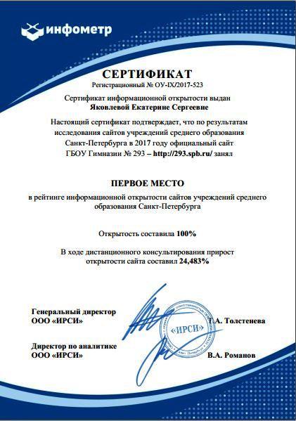 сертификат Гимназия