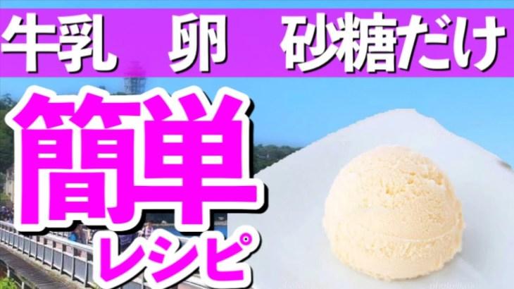 アイスクリーム作り方【牛乳・卵・砂糖でアイスクリーム】かんたん手作りバニラアイスクリームのレシピ
