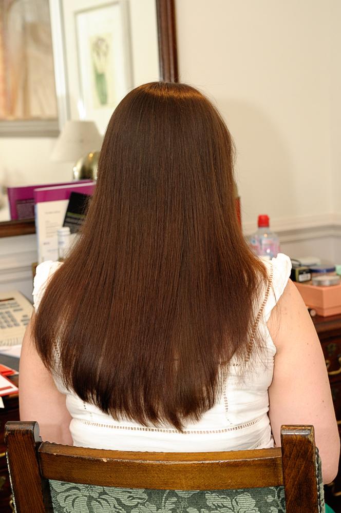 Tina's long stright hair