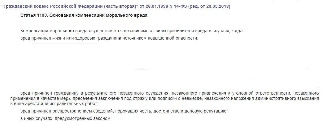 ст 1100 гк рф компенсация морального вреда