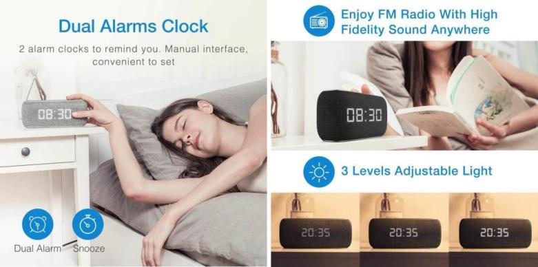 Havit MX801/M29 Wireless Bluetooth Speaker With Alarm Clock 1