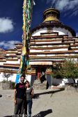 Felipe and Amandine in front of The Kumbum, Gyantse Monastery