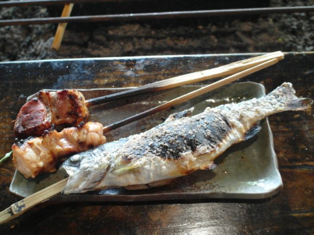 Trout and meats at Sanrokuen Restaurant