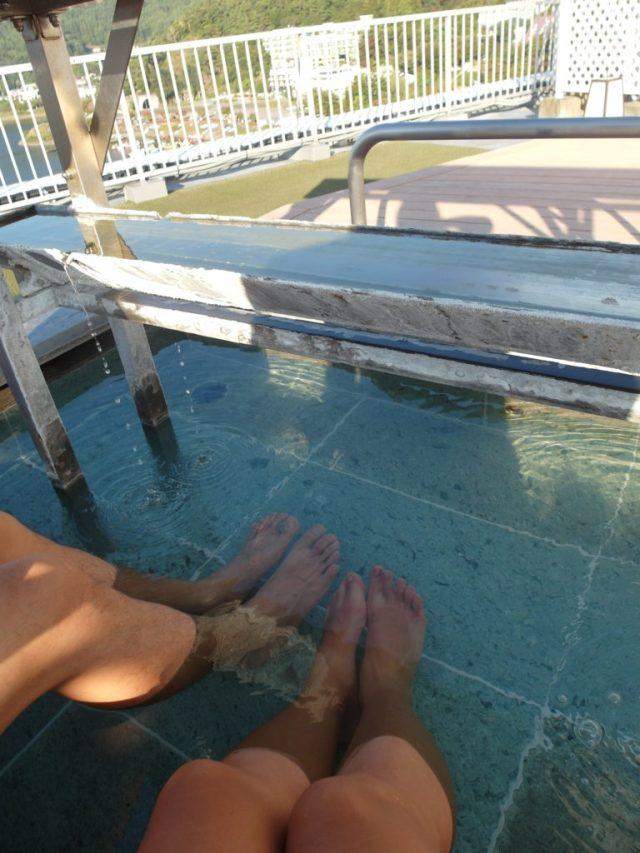 Tom & Kate soaking in footbath and enjoying the views