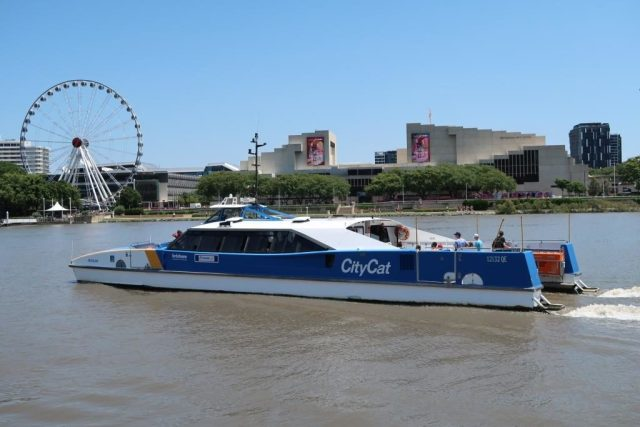 CityCat with The Wheel of Brisbane in the background