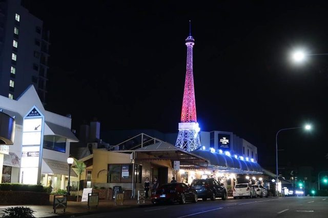 "The Scratch Bar is located diagonally opposite this ""Eiffel Tower"" in Brisbane"