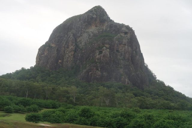 Glasshouse Mountains as seen from train from Brisbane to Montville