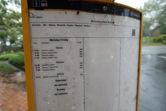 Bus Schedule from Montville back to Nambour Station on Bus 890