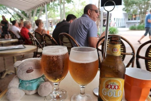 Chilling out with beers (Hastings Pale Ale - $8.5 / XXXX Gold - $7) at Aromas Noosa