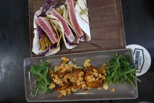 Seared Yellow-Fin Tuna Tacos & Sweet Potato and corn ricotta fritters @ Eumundi Brewery