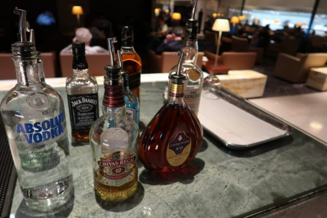 Alcohol selection SilverKris Lounge Singapore Changi Airport