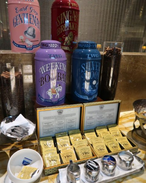TWG tea selection SilverKris Lounge Changi Airport