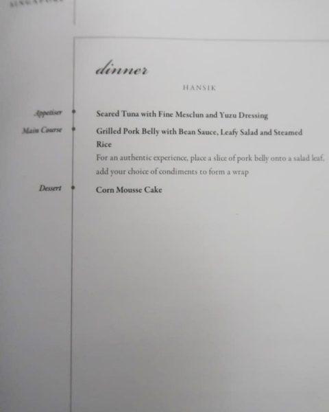 Seoul to Singapore Business Class Korean Food Menu