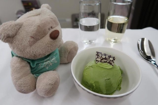 Singapore Airlines Business Class Dinner from Icheon to Singapore:  Green Tea Matcha Ice Cream