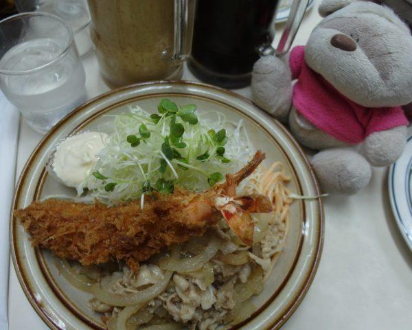 Tempura prawn and stir fried pork rice