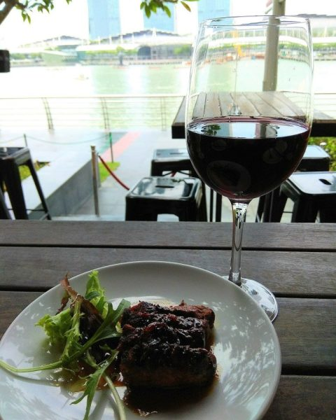 NY Sirloin Steak with Red Wine at The Pelican Sunday Champagne Brunch