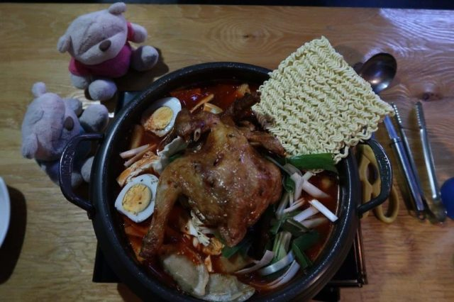 Korean Army Stew with Fried Chicken