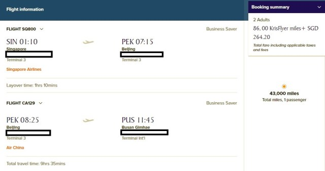 Price of SG to Busan SQ Business Class Tickets