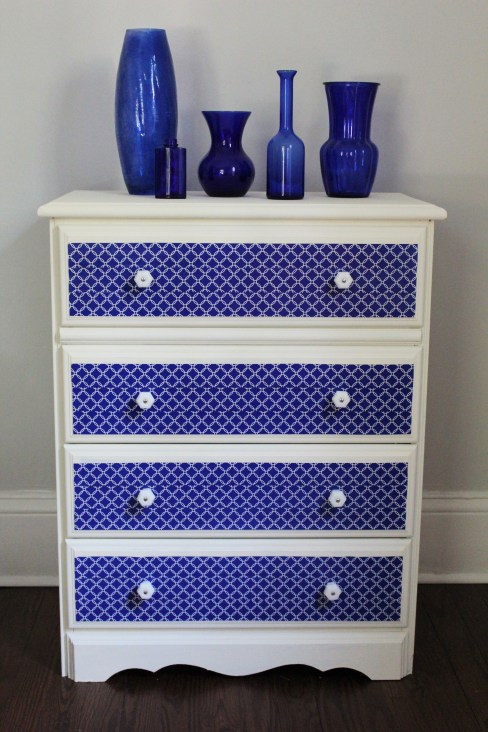 Trash to Treasure Dresser Transformation with chalk paint, duct tape, and D. Lawless Milk Glass knobs
