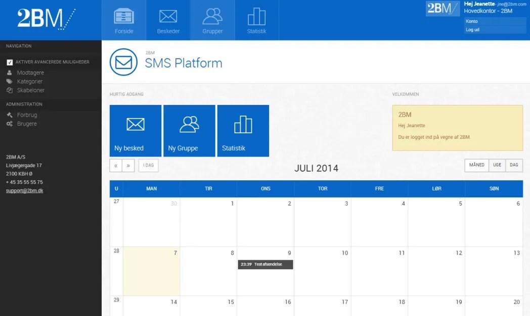 SMS Planner - webservice integration by 2BM