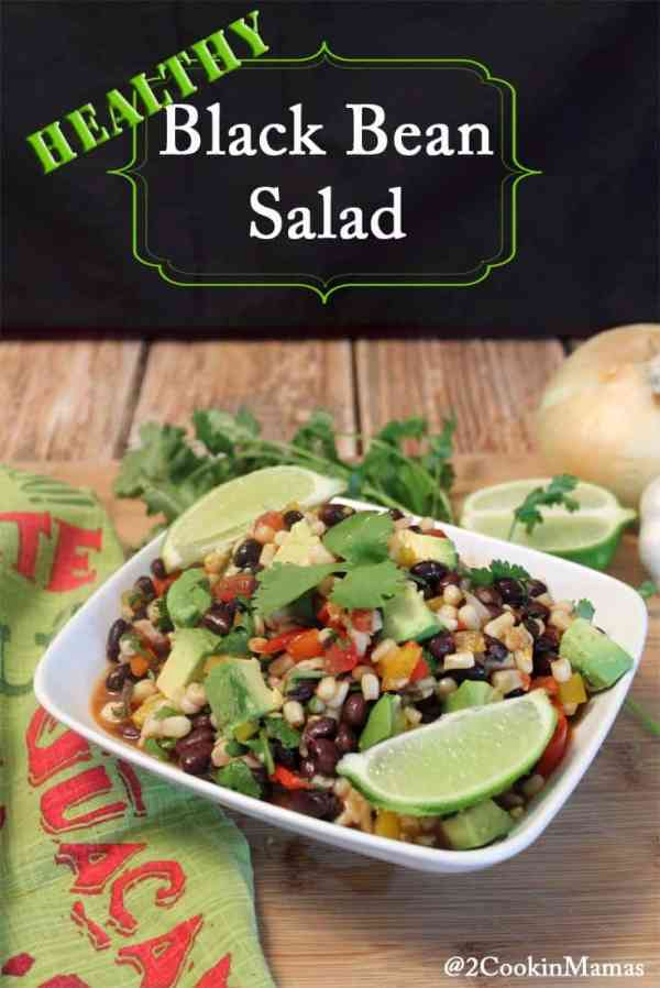 Black Bean Salad | 2CookinMamas A protein-rich salad with a decidedly Mexican twist. Great meatless dinner or serve as a side.