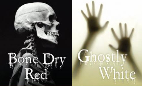 Ghostly White and Bone Dry Red labels
