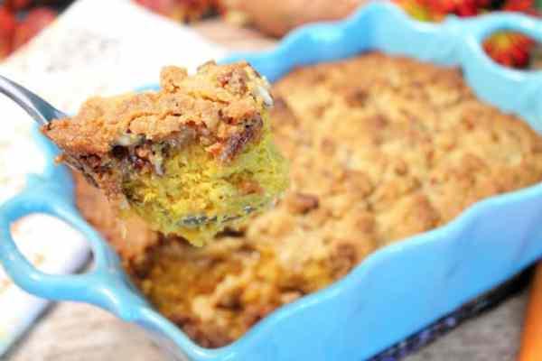 Sweet Potato Casserole bite | 2 Cookin Mamas