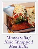 Mozzarella Stuffed Kale Wrapped Meatballs