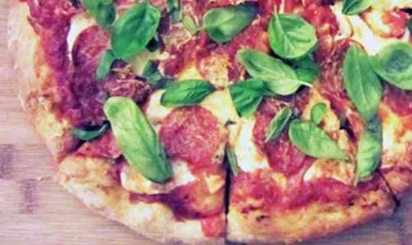 Pepperoni Pizza closeup | 2 Cookin Mamas