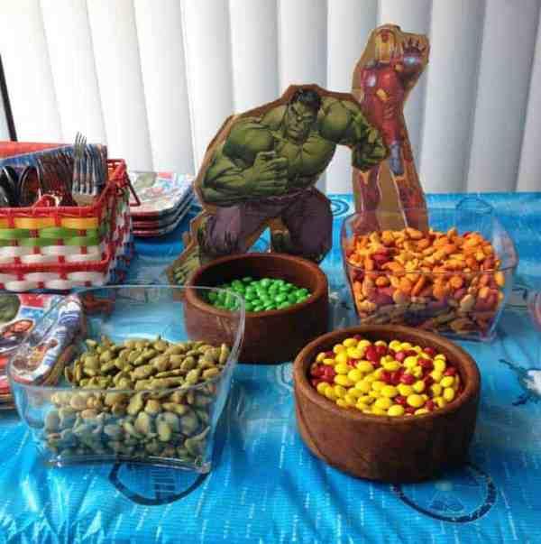 Superhero Birthday Party Ironman Hulk snacks | 2 Cookin Mamas