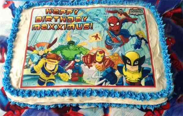 Superhero Birthday Party tie-dyed cake | 2 Cookin Mamas