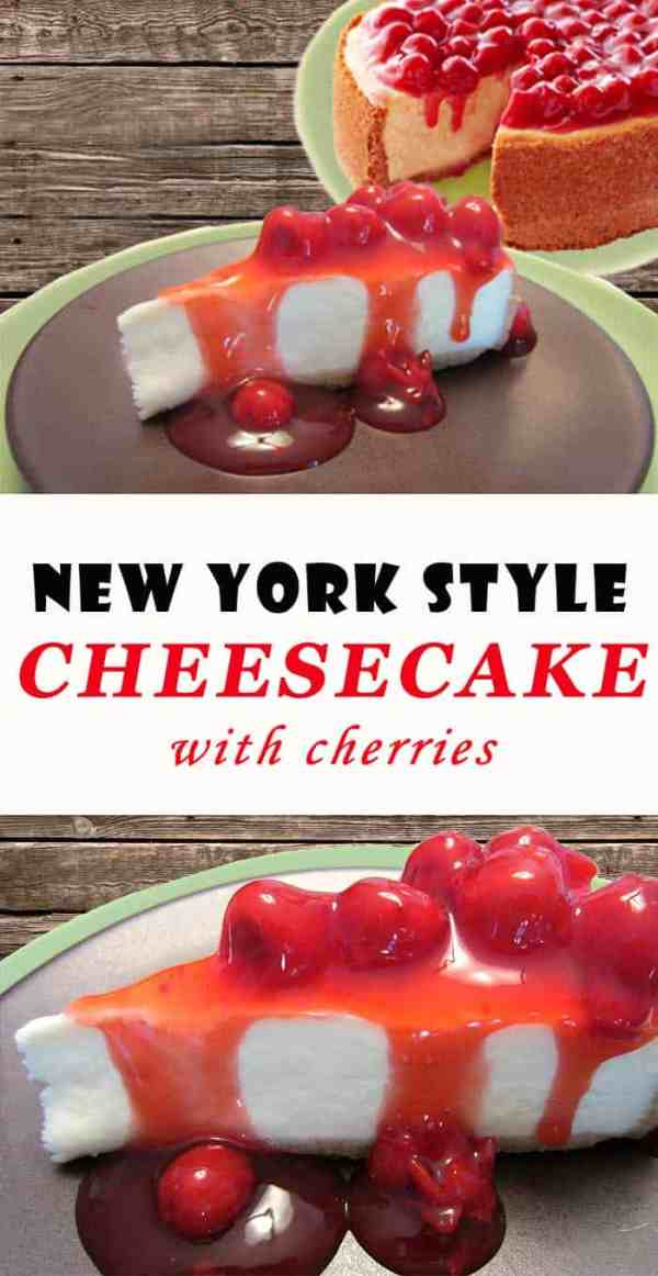 Cherry Cheesecake | 2 Cookin Mamas A deliciously creamy New York style cheesecake. It's smooth & dense with a rich flavor that compliments your favorite fruit topping.