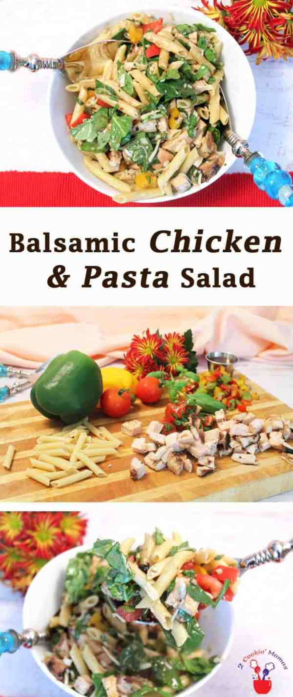 Balsamic Chicken & Pasta Salad   2 Cookin Mamas Want a delicious & healthy salad for your next picnic? This balsamic chicken & pasta salad is easy to carry with you & stretches to accommodate a crowd.