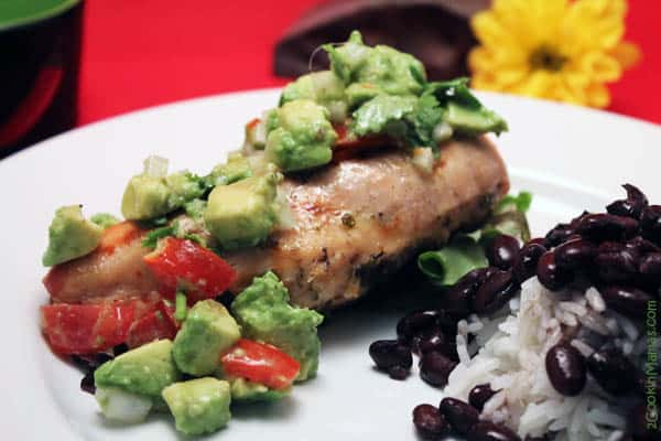 Chicken with Avocado Salsa close up | 2CookinMamas