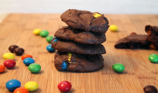 Chocolate Candy Cookies stacked | 2CookinMamas